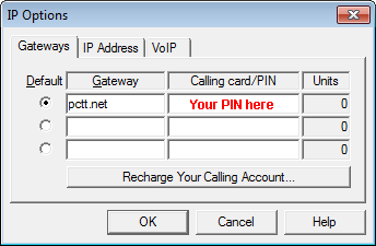 PC-Telephone меню Network-IP